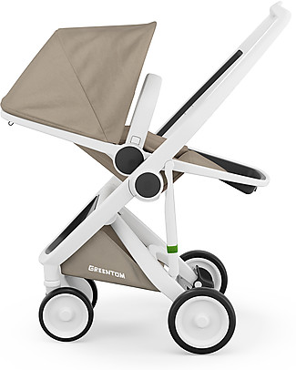 Greentom Greentom Reversible + Fabric - White Frame & Sand Seat - Eco-friendly & Recyclable! Pushchairs