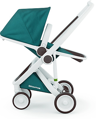 Greentom Greentom Reversible + Fabric - White Frame & Teal Seat - Eco-friendly & Recyclable!  Pushchairs