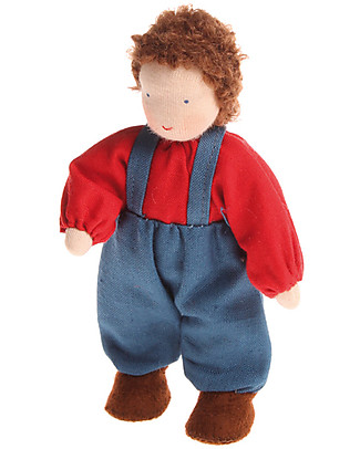 Grimm's Brown-haired Boy Doll - Handpainted Story Making Games