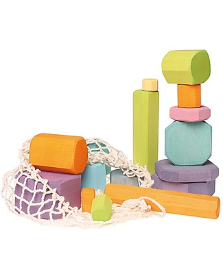 Grimm's Building Blocks Tree Slices - 16 pieces - Create colourful sculptures! Wooden Blocks & Construction Sets