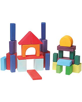 Grimm's Building Geo-Blocks - 30 pieces - Create colourful sculptures! Building Blocks