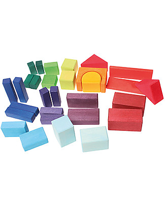 Grimm's Building Geo-Blocks - 30 pieces - Create colourful sculptures! Building Blocks