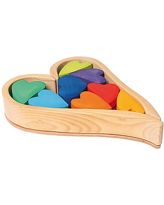 Grimm's Building Set Rainbow Hearts - 8 pieces - Create colourful sculptures! Wooden Blocks & Construction Sets