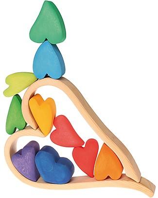 Grimm's Building Set Rainbow Hearts - 8 pieces - Create colourful sculptures! Wooden Blocks & Construction Sets