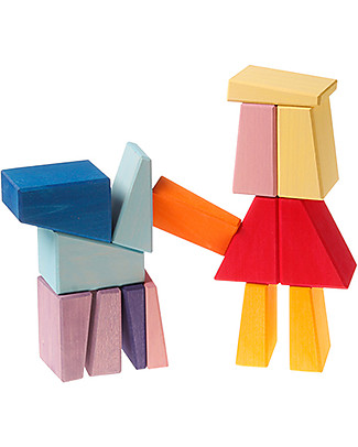 Grimm's Building Set Sloping Blocks - 30 pieces - A fun challenge! Wooden Stacking Toys