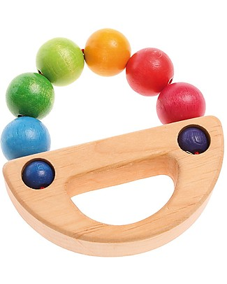 Grimm's Grasping Toy Rainbow Boat - Safe fun for babies Wooden Rattles