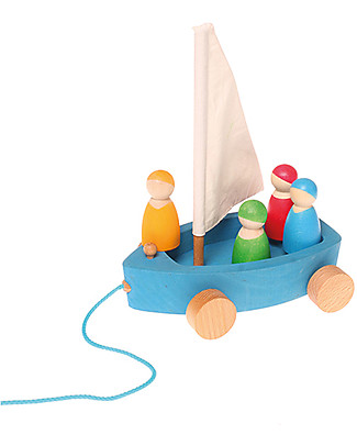 Grimm's Large Wooden Land Yacht - 4 Sailors Peg Dolls Included! Wooden Push & Pull Toys
