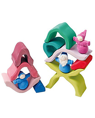 Grimm's Little Flower, Green and Pink Shades - 9 pieces Building Blocks