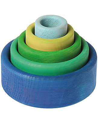 Grimm's Multipurpose Toy Set of Wooden Bowls, Coloured (Outside Blue) - 5 pieces Wooden Blocks & Construction Sets