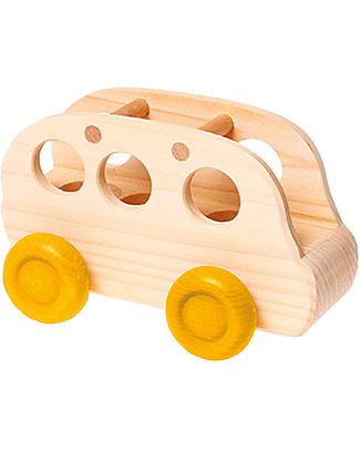 Grimm's Natural Wood Dools Bus - Beautiful! Wooden Push & Pull Toys