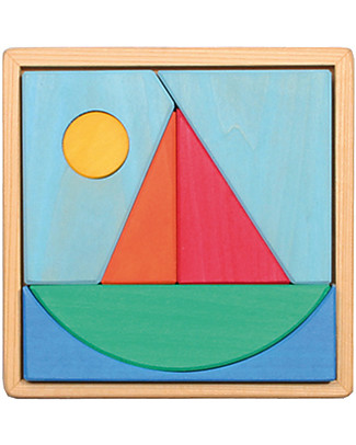 Grimm's Puzzle Sail Boat, Colorful - 7 pieces Wooden Stacking Toys
