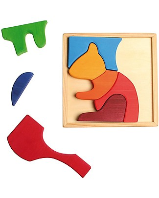 Grimm's Puzzle Squirrel, Colorful - 8 pieces Wooden Stacking Toys