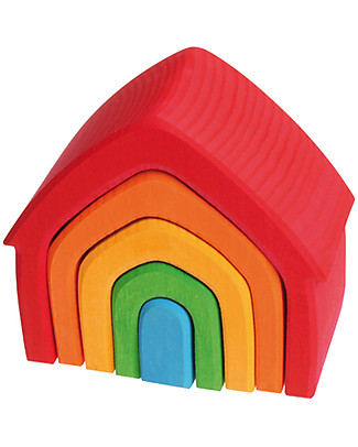 Grimm's Rainbow House, Coloured - 5 pieces Wooden Stacking Toys