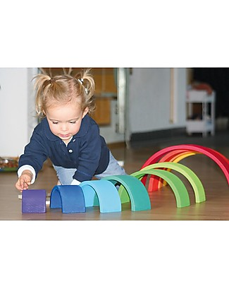 Grimm's Rainbow Tunnel - 12 pieces! 38 cm Wooden Blocks & Construction Sets