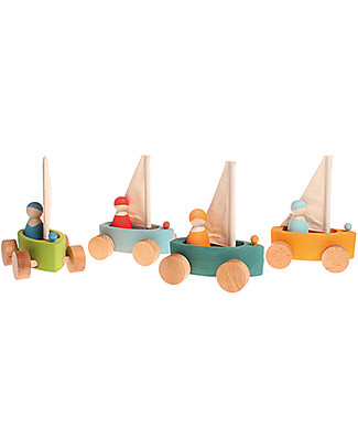 Grimm's Set of 4 Roll-along Little Land Yachts - Includes Peg Dolls! Wooden Push & Pull Toys