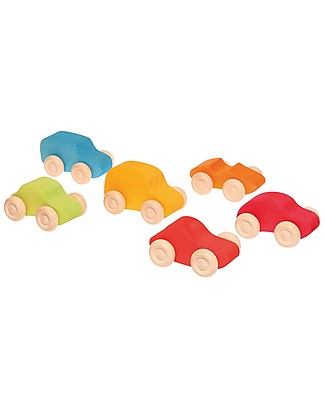 Grimm's Set of 6 Coloured Wooden Cars - Let your fantasy run free! Wooden Toy Cars, Trains & Trucks