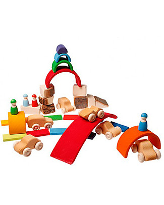 Grimm's Set of 6 Wooden Cars - Let your fantasy run free! Wooden Toy Cars, Trains & Trucks