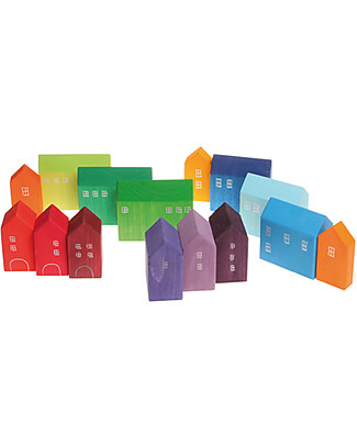 Grimm's Small Houses Building Set - 15 pieces -  Original, educational, fun! Building Blocks
