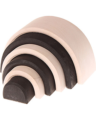 Grimm's Small Tunnel Monochrome, Black and White - 6 pieces, 10.5 cm Wooden Blocks & Construction Sets