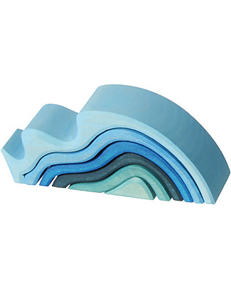 Grimm's Small Waterwaves, Blue Shades - 6 pieces Wooden Blocks & Construction Sets