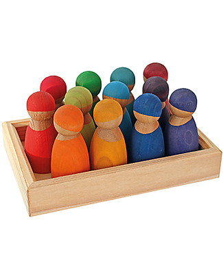 Grimm's Special Edition Cherrywood, Wooden Toy Rainbow Friends - 12 coloured peg dolls Story Making Games