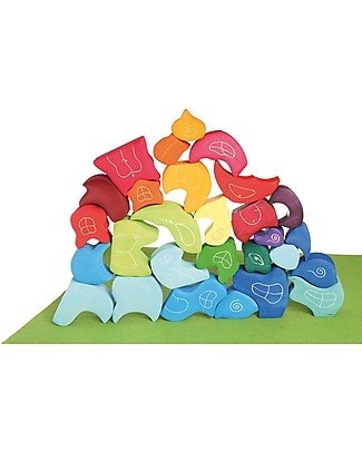Grimm's Wooden Blocks Set Tower Leafs - 3 pieces - Original, educational, fun! Wooden Blocks & Construction Sets