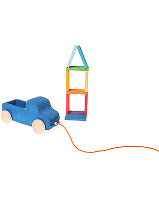 Grimm's Wooden Blue Truck Pull Toy - 10 rainbow coloured pieces included! Wooden Push & Pull Toys