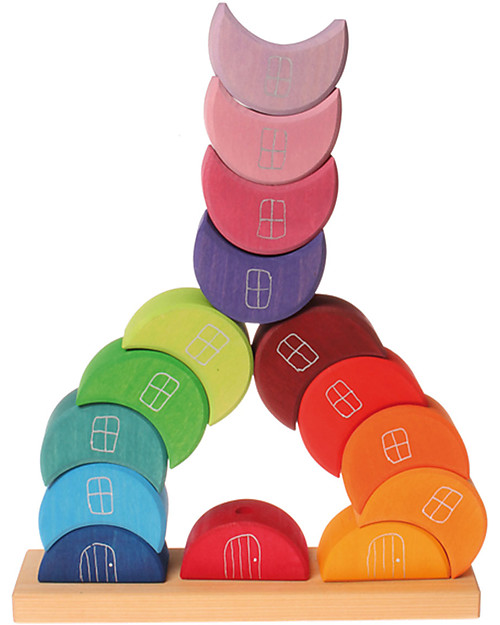 Grimm's Wooden Piling Game Moon Houses - 16 pieces - Original, educational, fun! Wooden Blocks & Construction Sets