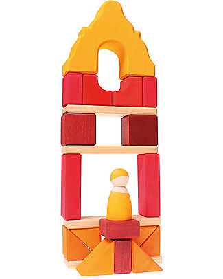 Grimm's Wooden Stacking Toy Framehouse, Red - Includes 23 building blocks and one peg doll! Wooden Blocks & Construction Sets