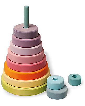 Grimm's Wooden Stacking Toy Large Conical Tower - Includes 11 pastel colors rings! Wooden Blocks & Construction Sets