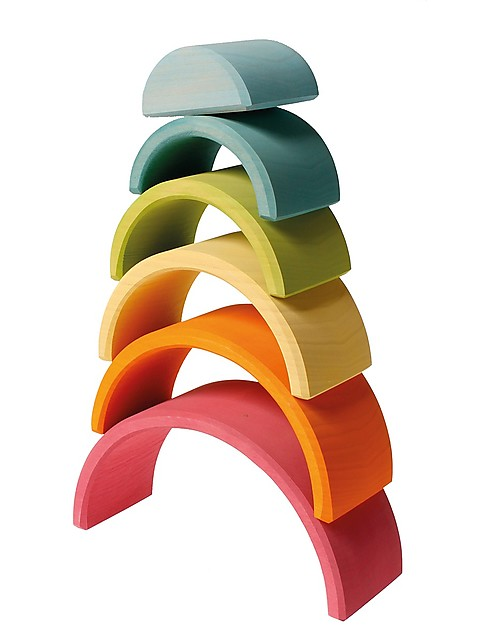 Grimm's Wooden Toy Pastel Rainbow, 6 pieces, 17 cm Wooden Stacking Toys