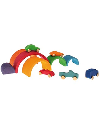 Grimm's Wooden Toy Rainbow, 6 Pieces, 17 cm Wooden Blocks & Construction Sets