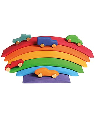 Grimm's Wooden Toy Rainbow Bridge - 6 colourful roads for little cars! Wooden Stacking Toys