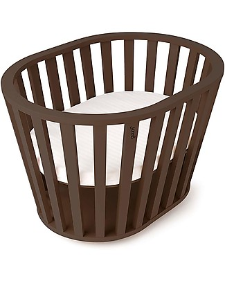 Guum Barcelona Miniguum, Transformable Wooden Crib, Chocolate – Becomes a playpen or table! Cribs & Moses Baskets