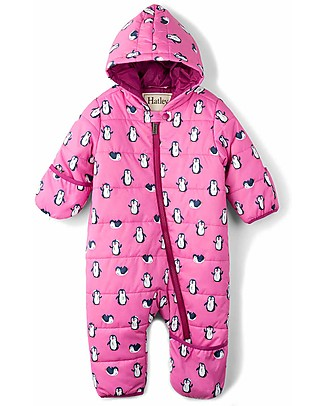 Hatley Baby's Winter Puffer All-in-one, Pink Penguins (the perfect winter pramsuit!) Snowsuits