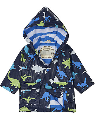 Hatley Colour Changing Baby Raincoat, Dino Herd - Hooded, Lined and PVC-free Coats