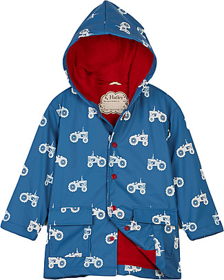 Hatley Colour Changing Raincoat, Farm Tractors - Hooded, Lined and PVC-free Coats