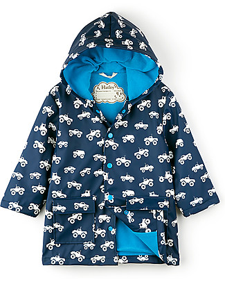 Hatley Colour Changing Raincoat,  Monster Truck - Hooded, lined and PVC-free Coats