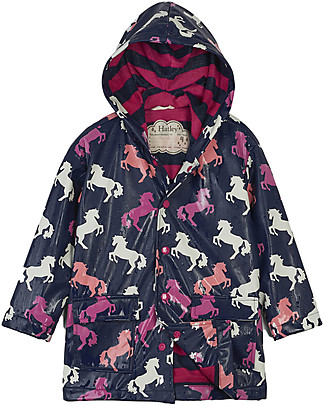 Hatley Colour Changing Raincoat, Playful Horses - Hooded, Lined and PVC-free Jackets