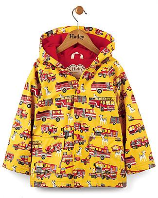 Hatley Fire Trucks Boys Raincoat - Hooded, lined and PVC-free Coats