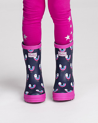 Hatley Girls Matte Rain Boots, Rainbow Birds Umbrellas