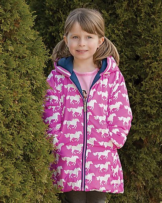 Hatley Girls Reversible Winter Puffer - Fairy Tale Horses Jackets