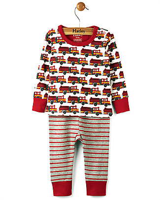Hatley Long Sleeve Baby Pyjamas Set, Fire Trucks - 100% Organic cotton Pyjamas