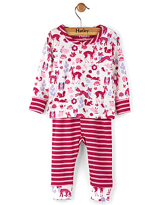 Hatley Long Sleeve Baby Pyjamas Set, Woodland Tea Party - 100% Organic cotton Pyjamas