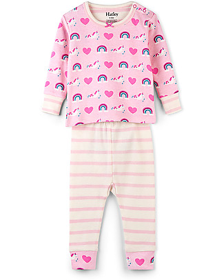 Hatley Long Sleeves Applique Baby Pajama Set, Unicorns & Rainbows - 100% organic cotton null