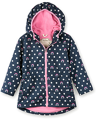 Hatley Microfiber Rain Jacket, Dots and Rainbows - Hooded, lined and PVC-free Jackets