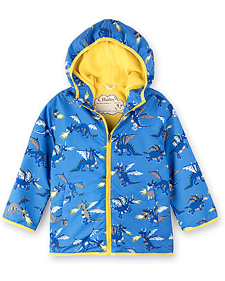 Hatley Microfiber Rain Jacket, Fire Breathing Dragons - Hooded, lined and PVC-free Jackets