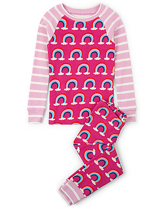 Hatley Raglan Sleeve Pajama, Pretty Rainbows - 100% organic cotton Pyjamas