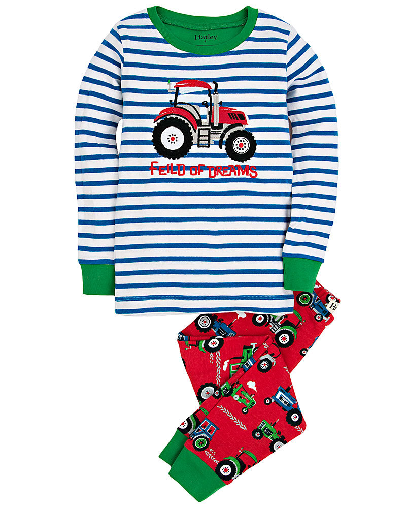Hatley Organic Cotton Long Sleeve Appliqu/é Pyjama Set Pigiama Bambino