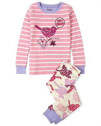Hatley Slim Line PJs Set with Applique, Birds Of A Feather - 100% Organic cotton Pyjamas